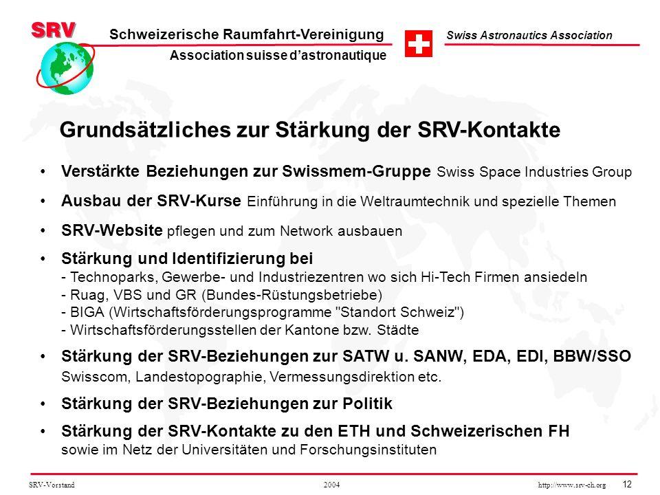 SRV-Vorstand 2004 http://www.srv-ch.org 12 Schweizerische Raumfahrt-Vereinigung Swiss Astronautics Association Grundsätzliches zur Stärkung der SRV-Ko