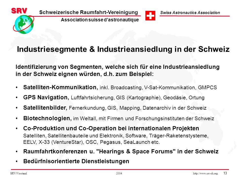 SRV-Vorstand 2004 http://www.srv-ch.org 13 Schweizerische Raumfahrt-Vereinigung Swiss Astronautics Association Industriesegmente & Industrieansiedlung
