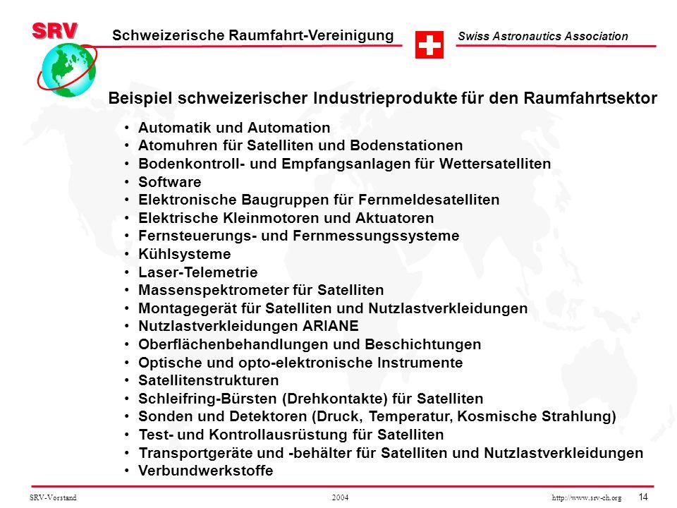 SRV-Vorstand 2004 http://www.srv-ch.org 14 Schweizerische Raumfahrt-Vereinigung Swiss Astronautics Association Automatik und Automation Atomuhren für