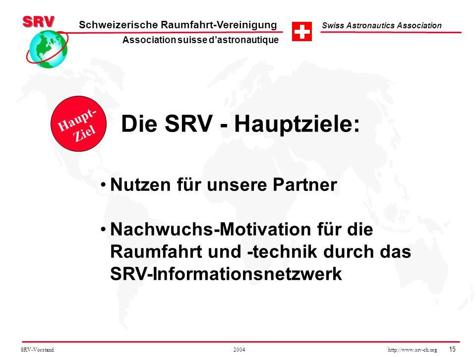 SRV-Vorstand 2004 http://www.srv-ch.org 15 Schweizerische Raumfahrt-Vereinigung Swiss Astronautics Association Nutzen für unsere Partner Nachwuchs-Mot