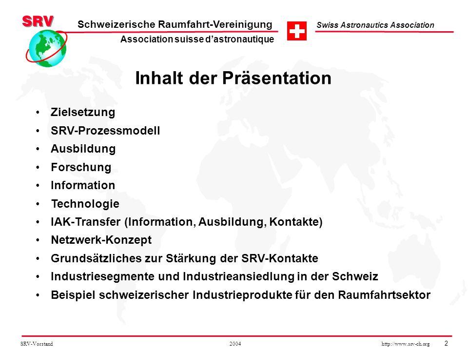 SRV-Vorstand 2004 http://www.srv-ch.org 2 Schweizerische Raumfahrt-Vereinigung Swiss Astronautics Association Inhalt der Präsentation Zielsetzung SRV-
