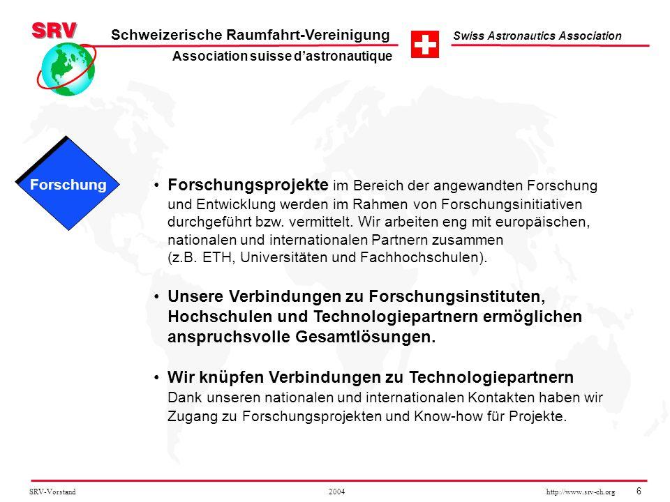 SRV-Vorstand 2004 http://www.srv-ch.org 6 Schweizerische Raumfahrt-Vereinigung Swiss Astronautics Association Forschungsprojekte im Bereich der angewa