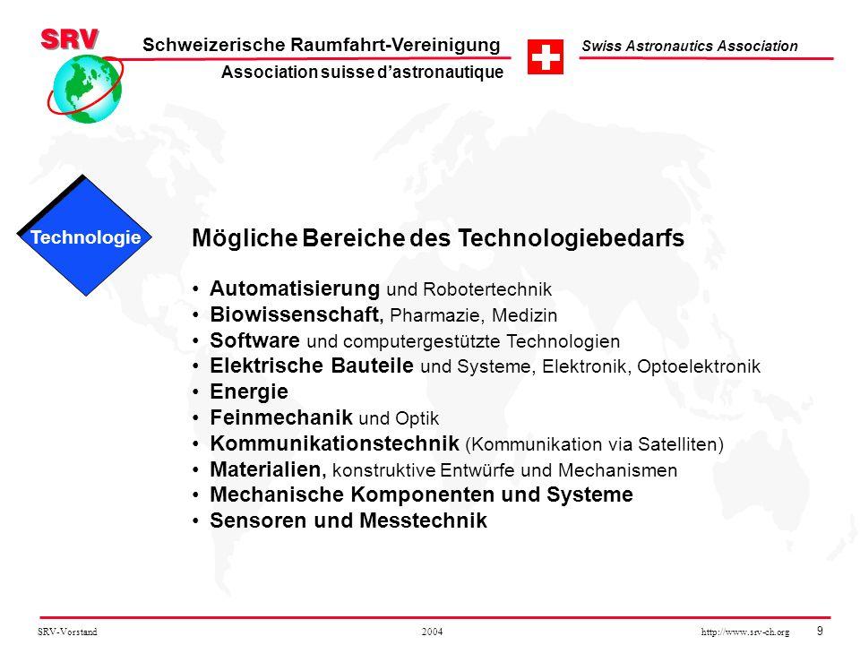 SRV-Vorstand 2004 http://www.srv-ch.org 9 Schweizerische Raumfahrt-Vereinigung Swiss Astronautics Association Mögliche Bereiche des Technologiebedarfs