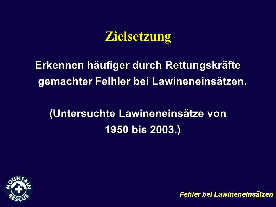 Zielsetzung Erkennen häufiger durch Rettungskräfte gemachter Felhler bei Lawineneinsätzen. (Untersuchte Lawineneinsätze von 1950 bis 2003.) Fehler bei