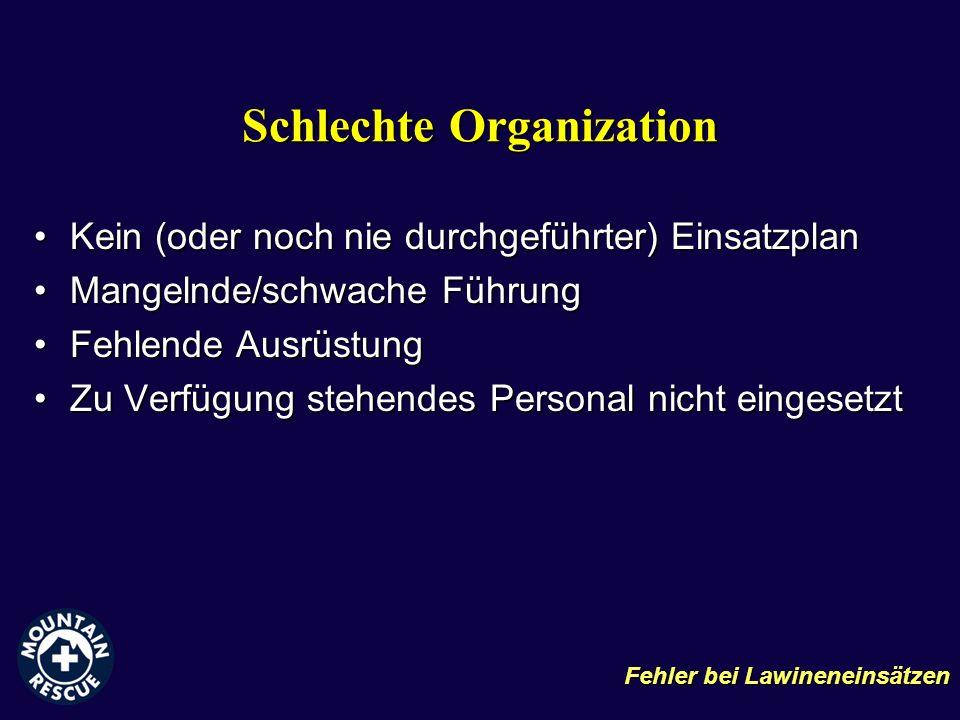 Schlechte Organization Kein (oder noch nie durchgeführter) EinsatzplanKein (oder noch nie durchgeführter) Einsatzplan Mangelnde/schwache FührungMangel