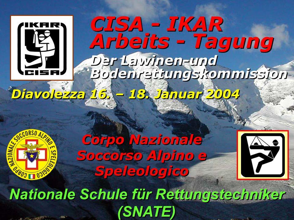 CISA - IKAR Der Lawinen-und Bodenrettungskommission Diavolezza 16. – 18. Januar 2004 Arbeits - Tagung Corpo Nazionale Soccorso Alpino e Speleologico N