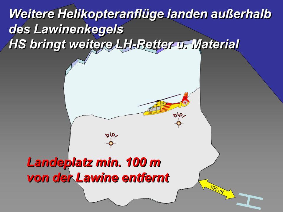 Landeplatz min. 100 m von der Lawine entfernt Landeplatz min.