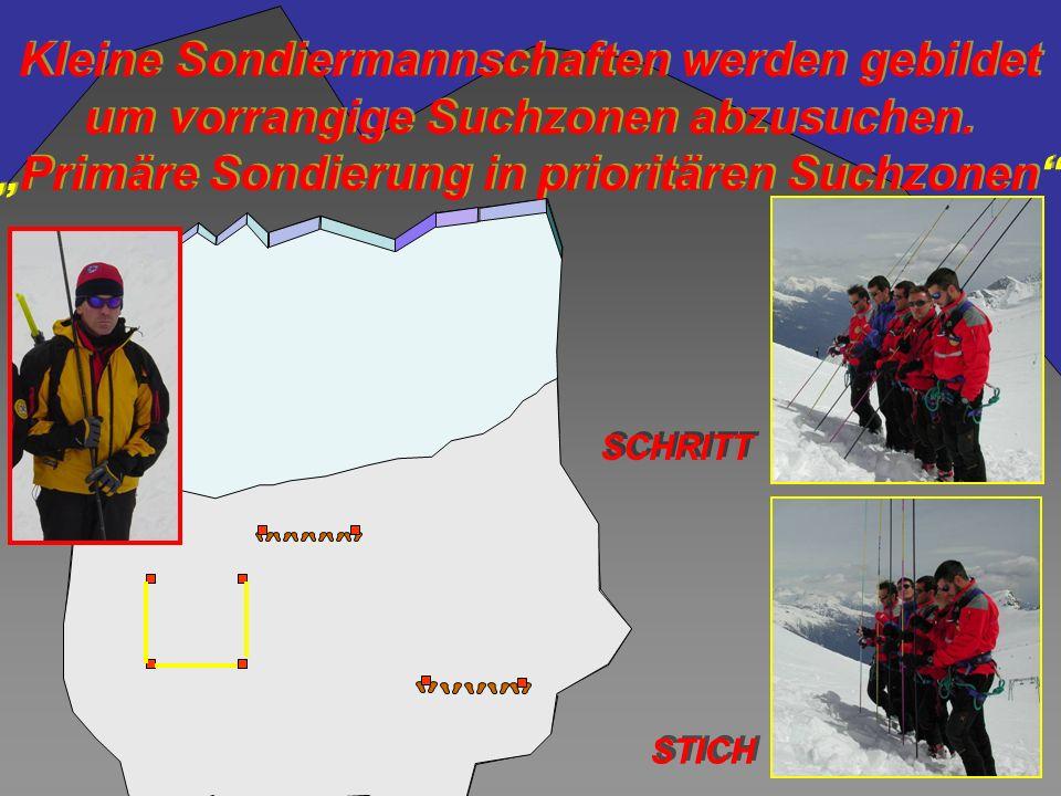 Kleine Sondiermannschaften werden gebildet um vorrangige Suchzonen abzusuchen.