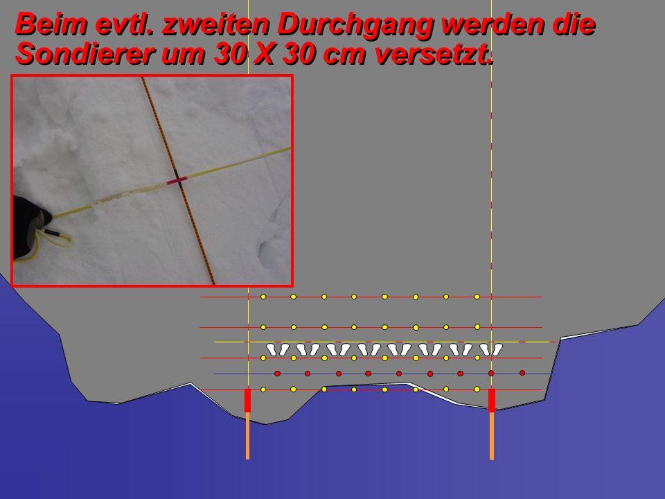 Beim evtl. zweiten Durchgang werden die Sondierer um 30 X 30 cm versetzt.