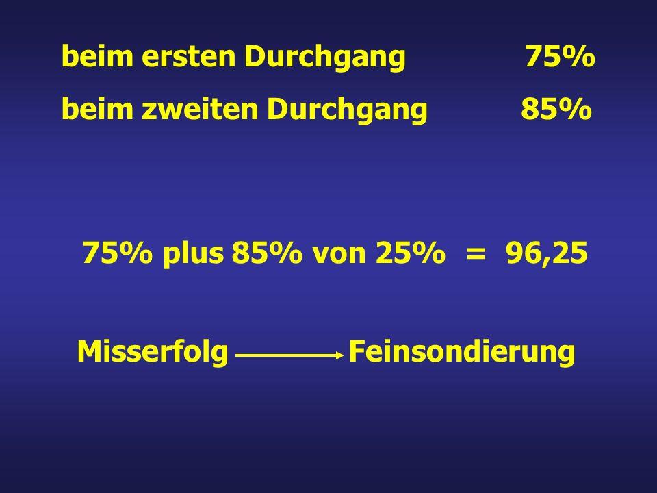 Misserfolg Feinsondierung beim ersten Durchgang 75% beim zweiten Durchgang 85% 75% plus 85% von 25% = 96,25