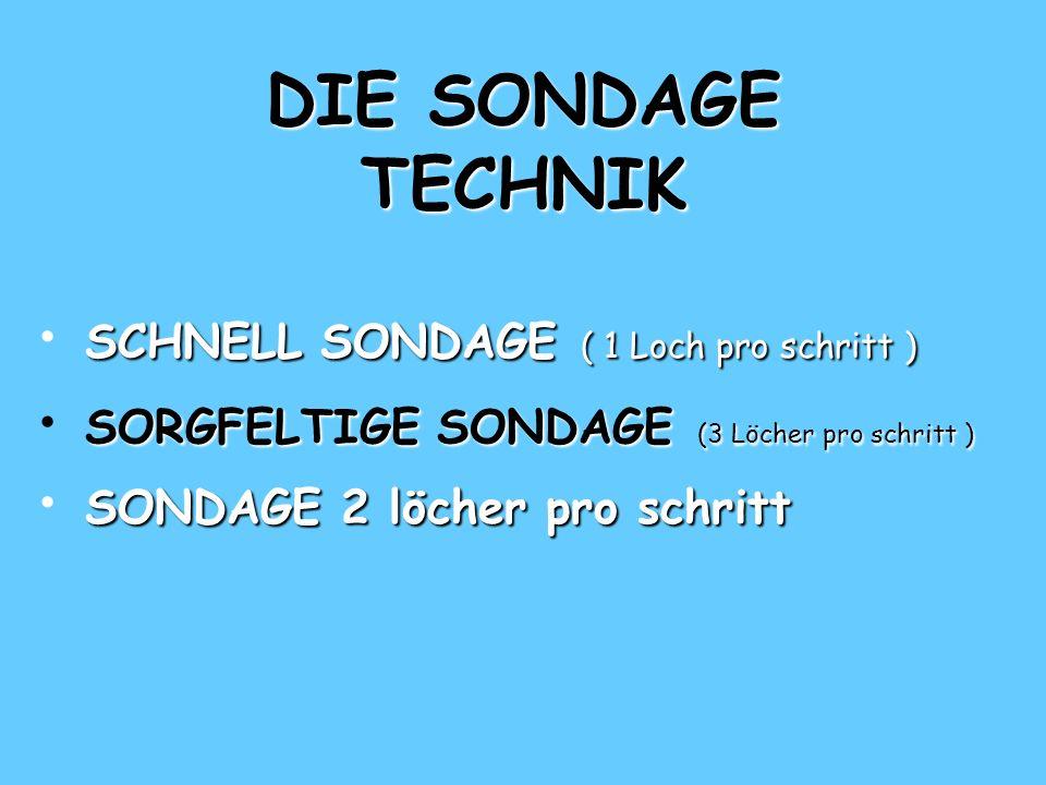 DIE SONDAGE TECHNIK SCHNELL SONDAGE ( 1 Loch pro schritt ) SCHNELL SONDAGE ( 1 Loch pro schritt ) SCHNELL SONDAGE ( 1 Loch pro schritt ) SORGFELTIGE S