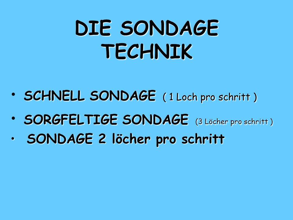 DIE SONDAGE TECHNIK SCHNELL SONDAGE ( 1 Loch pro schritt ) SCHNELL SONDAGE ( 1 Loch pro schritt ) SCHNELL SONDAGE ( 1 Loch pro schritt ) SORGFELTIGE SONDAGE (3 Löcher pro schritt ) SONDAGE 2 löcher pro schritt