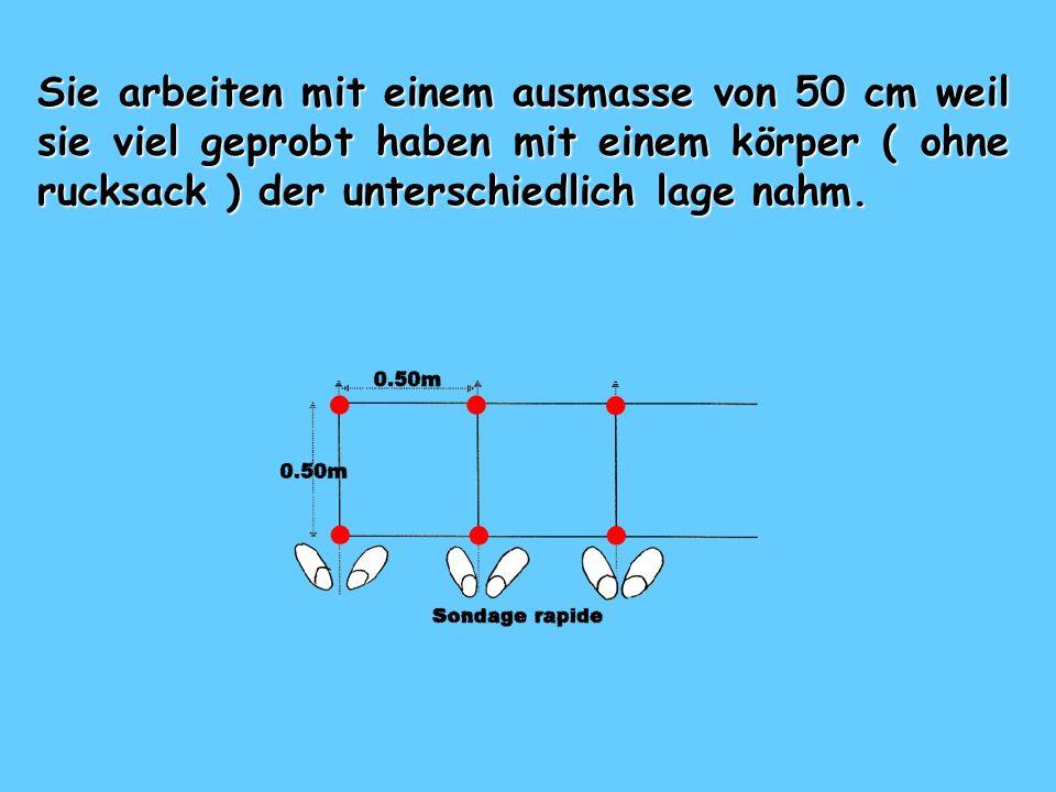 FUHRUNG :« SONDIEREN » Die lawinensonde wid vertical eingeschlagen swischen den fuss und dann 25 cm auf jedere seite wie jeder will.