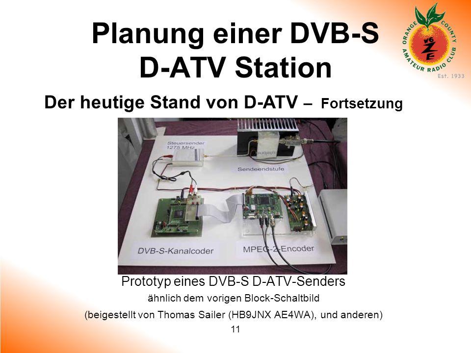 11 Planung einer DVB-S D-ATV Station Der heutige Stand von D-ATV – Fortsetzung Prototyp eines DVB-S D-ATV-Senders ähnlich dem vorigen Block-Schaltbild