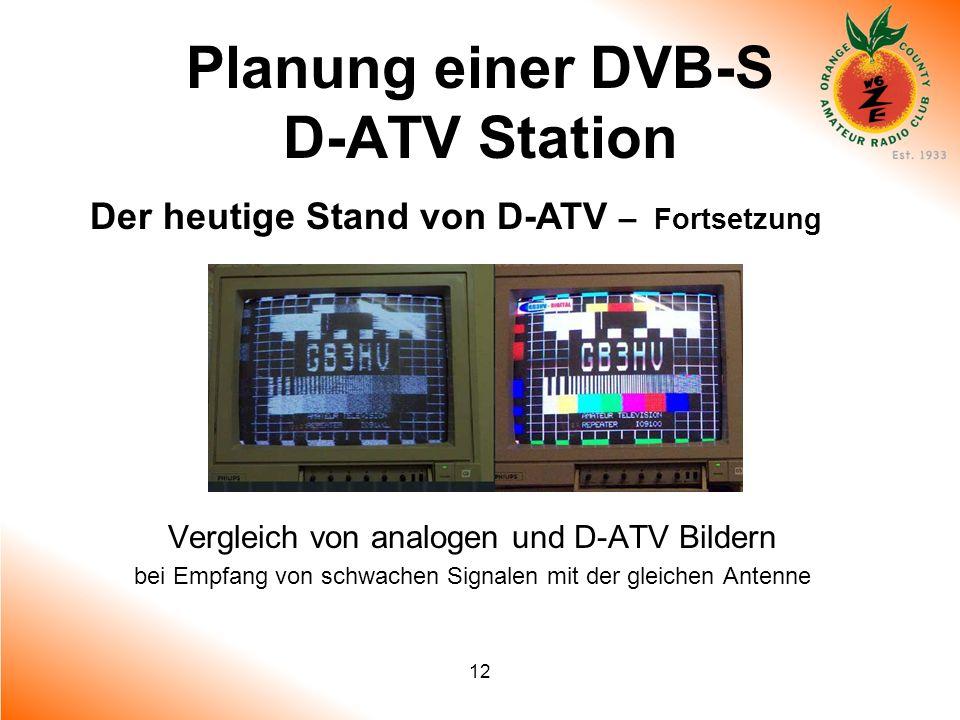 12 Planung einer DVB-S D-ATV Station Der heutige Stand von D-ATV – Fortsetzung Vergleich von analogen und D-ATV Bildern bei Empfang von schwachen Sign