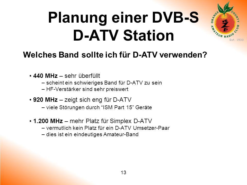 13 Planung einer DVB-S D-ATV Station Welches Band sollte ich für D-ATV verwenden? 440 MHz – sehr überfüllt – scheint ein schwieriges Band für D-ATV zu