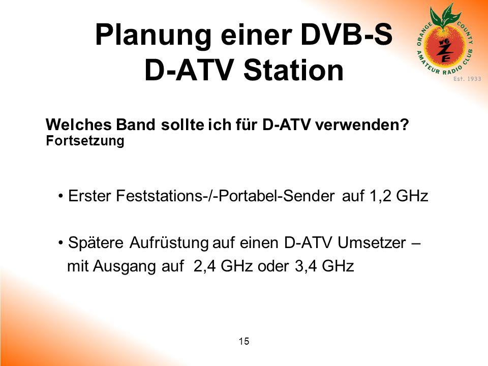 15 Planung einer DVB-S D-ATV Station Welches Band sollte ich für D-ATV verwenden? Fortsetzung Erster Feststations-/-Portabel-Sender auf 1,2 GHz Später