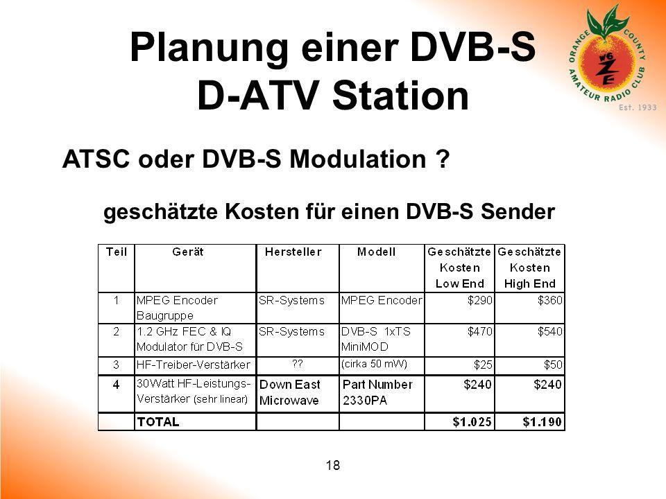 18 Planung einer DVB-S D-ATV Station ATSC oder DVB-S Modulation ? geschätzte Kosten für einen DVB-S Sender