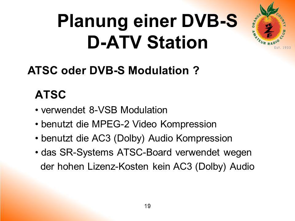 19 Planung einer DVB-S D-ATV Station ATSC oder DVB-S Modulation ? ATSC verwendet 8-VSB Modulation benutzt die MPEG-2 Video Kompression benutzt die AC3