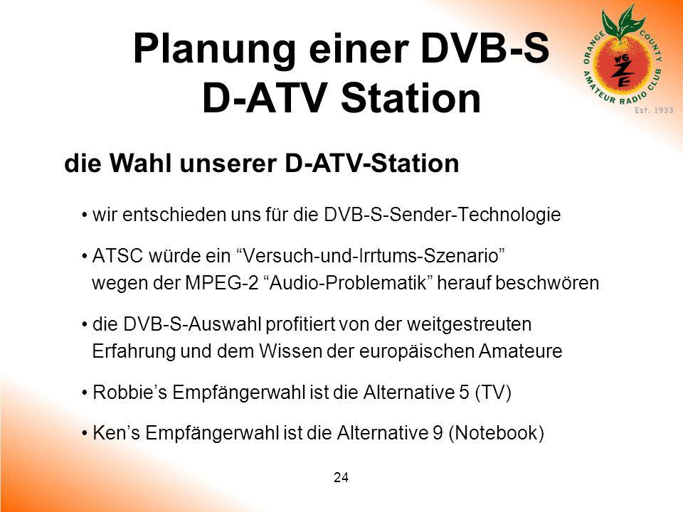 24 Planung einer DVB-S D-ATV Station die Wahl unserer D-ATV-Station wir entschieden uns für die DVB-S-Sender-Technologie ATSC würde ein Versuch-und-Ir