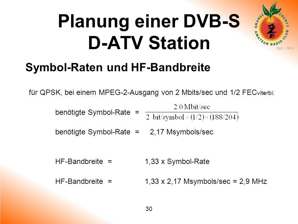 30 Planung einer DVB-S D-ATV Station Symbol-Raten und HF-Bandbreite für QPSK, bei einem MPEG-2-Ausgang von 2 Mbits/sec und 1/2 FEC viterbi: benötigte
