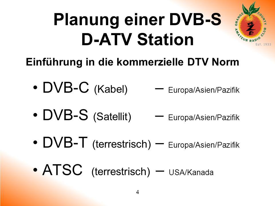 4 Planung einer DVB-S D-ATV Station Einführung in die kommerzielle DTV Norm DVB-C (Kabel) – Europa/Asien/Pazifik DVB-S (Satellit) – Europa/Asien/Pazif
