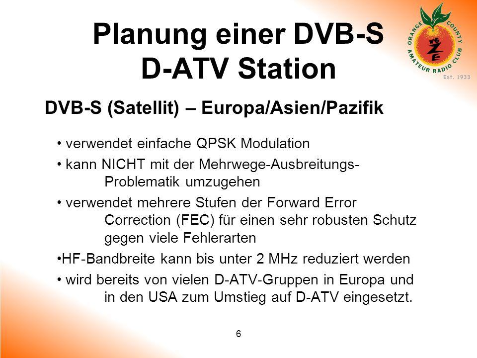 6 Planung einer DVB-S D-ATV Station DVB-S (Satellit) – Europa/Asien/Pazifik verwendet einfache QPSK Modulation kann NICHT mit der Mehrwege-Ausbreitung