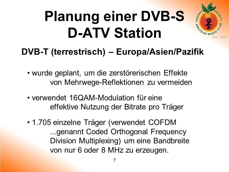 7 Planung einer DVB-S D-ATV Station DVB-T (terrestrisch) – Europa/Asien/Pazifik wurde geplant, um die zerstörerischen Effekte von Mehrwege-Reflektione