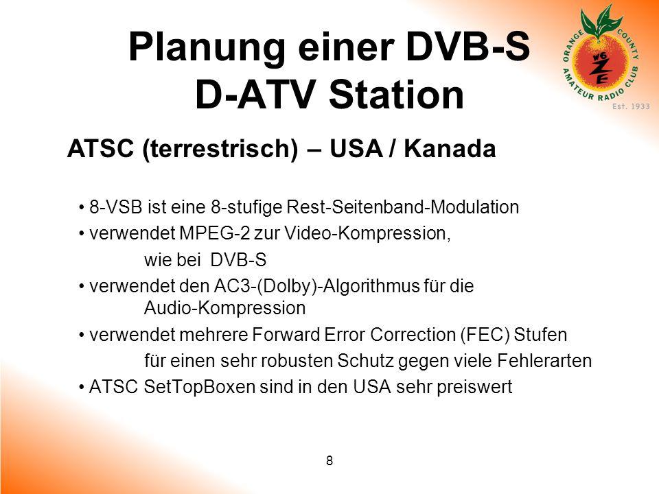 8 Planung einer DVB-S D-ATV Station ATSC (terrestrisch) – USA / Kanada 8-VSB ist eine 8-stufige Rest-Seitenband-Modulation verwendet MPEG-2 zur Video-