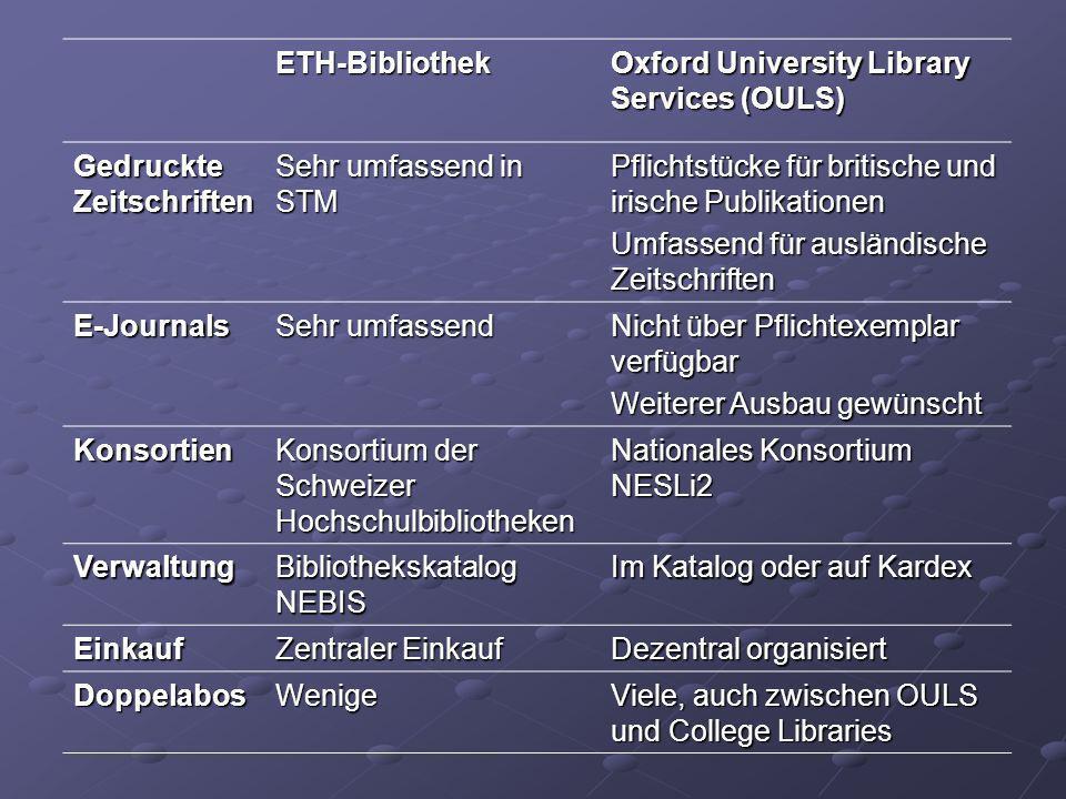 ETH-Bibliothek Oxford University Library Services (OULS) Gedruckte Zeitschriften Sehr umfassend in STM Pflichtstücke für britische und irische Publika