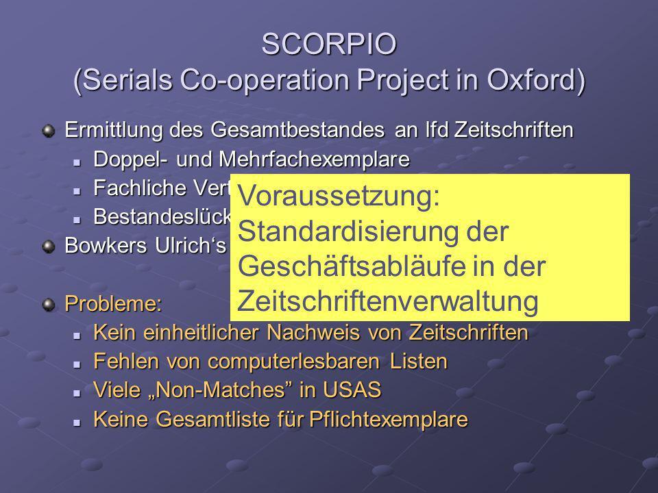 SCORPIO (Serials Co-operation Project in Oxford) Ermittlung des Gesamtbestandes an lfd Zeitschriften Doppel- und Mehrfachexemplare Doppel- und Mehrfac