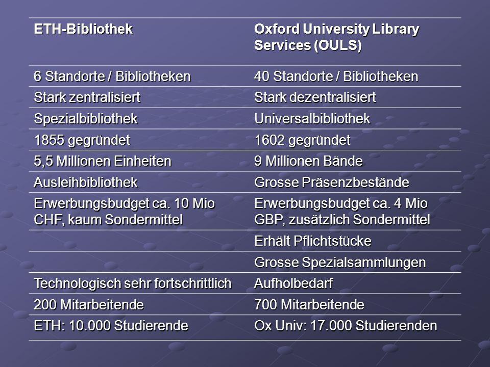 ETH-Bibliothek Oxford University Library Services (OULS) 6 Standorte / Bibliotheken 40 Standorte / Bibliotheken Stark zentralisiert Stark dezentralisi