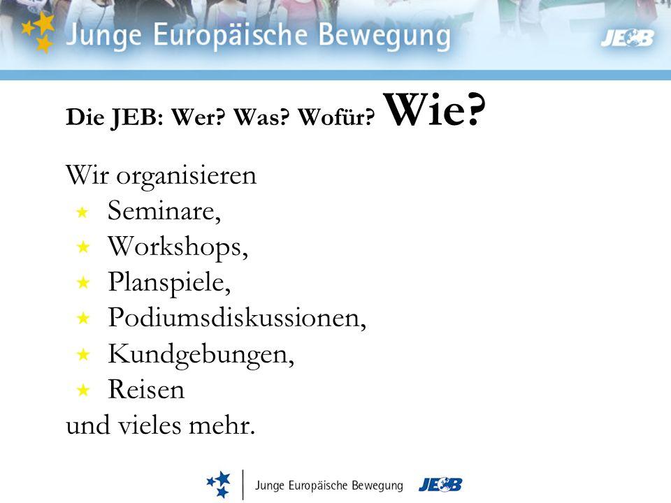 Die JEB: Wer? Was? Wofür? Wie? Wir organisieren Seminare, Workshops, Planspiele, Podiumsdiskussionen, Kundgebungen, Reisen und vieles mehr.