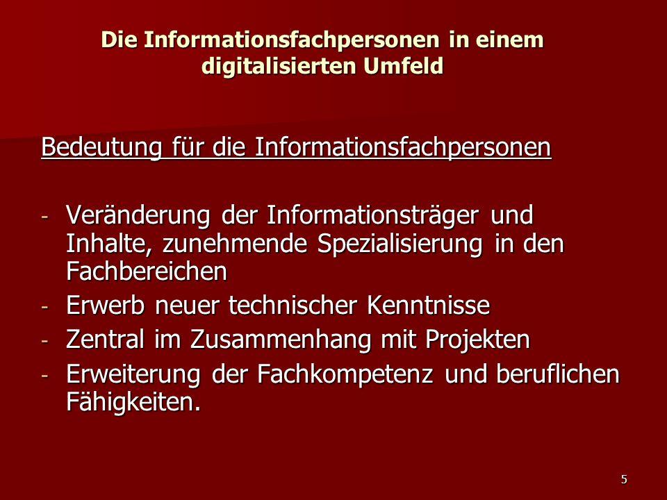5 Die Informationsfachpersonen in einem digitalisierten Umfeld Bedeutung für die Informationsfachpersonen - Veränderung der Informationsträger und Inh