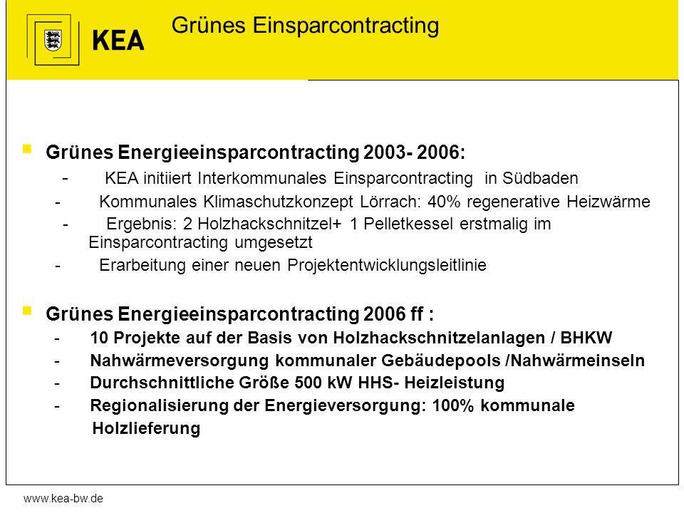 www.kea-bw.de Grünes Einsparcontracting Grünes Energieeinsparcontracting 2003- 2006: - KEA initiiert Interkommunales Einsparcontracting in Südbaden -