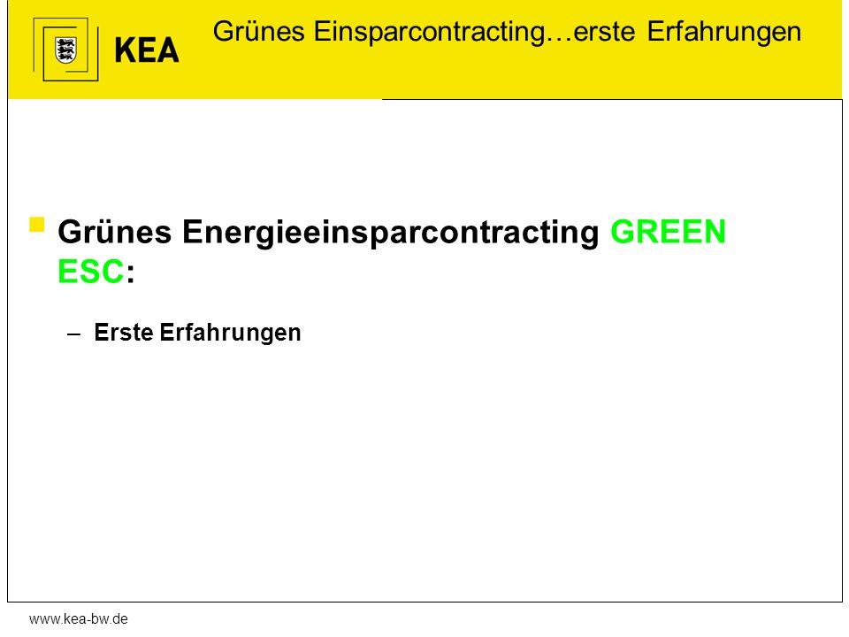 www.kea-bw.de Grünes Einsparcontracting…erste Erfahrungen Grünes Energieeinsparcontracting GREEN ESC: –Erste Erfahrungen