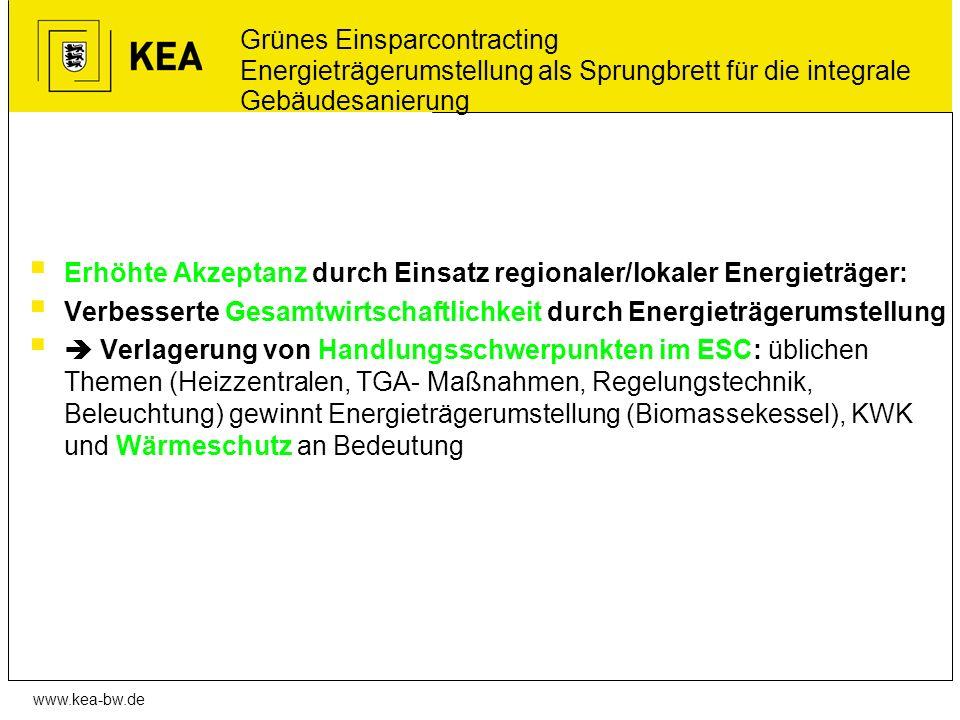 www.kea-bw.de Grünes Einsparcontracting Energieträgerumstellung als Sprungbrett für die integrale Gebäudesanierung Erhöhte Akzeptanz durch Einsatz reg