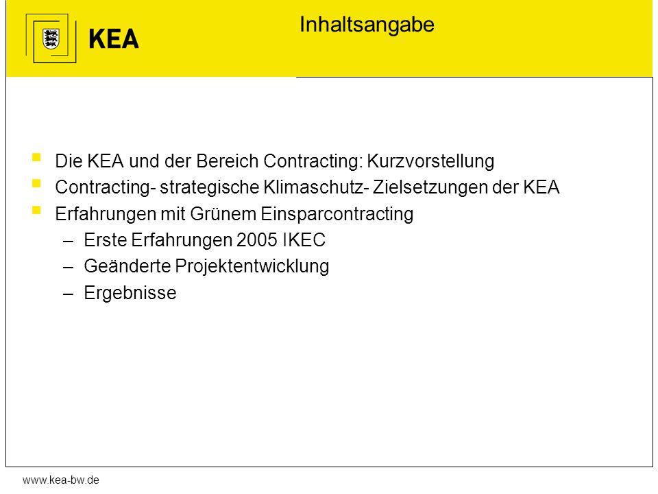 www.kea-bw.de Inhaltsangabe Die KEA und der Bereich Contracting: Kurzvorstellung Contracting- strategische Klimaschutz- Zielsetzungen der KEA Erfahrun