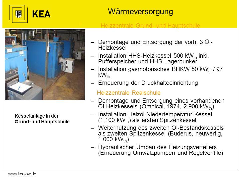 www.kea-bw.de Wärmeversorgung Heizzentrale Grund- und Hauptschule –Demontage und Entsorgung der vorh. 3 Öl- Heizkessel –Installation HHS-Heizkessel 50