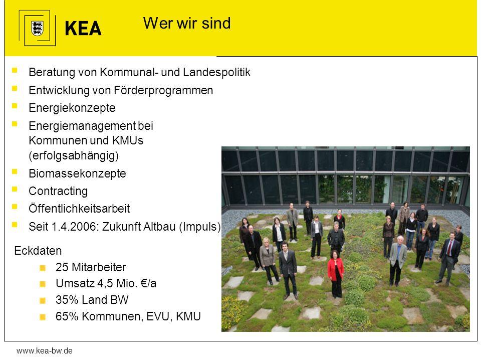 www.kea-bw.de Wer wir sind Beratung von Kommunal- und Landespolitik Entwicklung von Förderprogrammen Energiekonzepte Energiemanagement bei Kommunen un