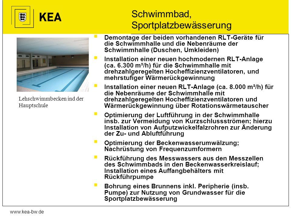 www.kea-bw.de Schwimmbad, Sportplatzbewässerung Demontage der beiden vorhandenen RLT-Geräte für die Schwimmhalle und die Nebenräume der Schwimmhalle (