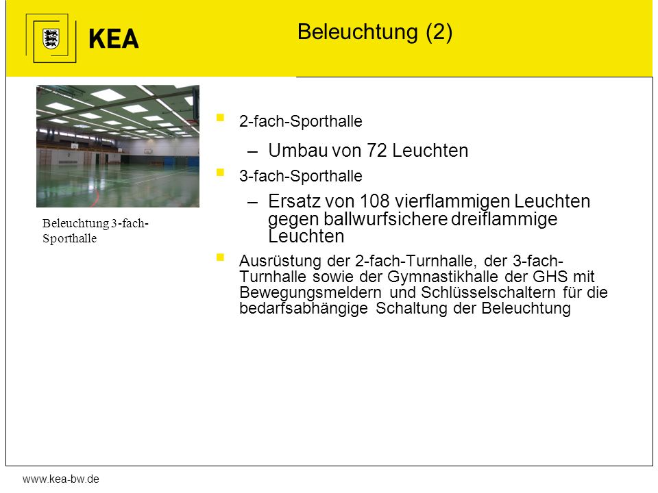 www.kea-bw.de Beleuchtung (2) 2-fach-Sporthalle –Umbau von 72 Leuchten 3-fach-Sporthalle –Ersatz von 108 vierflammigen Leuchten gegen ballwurfsichere
