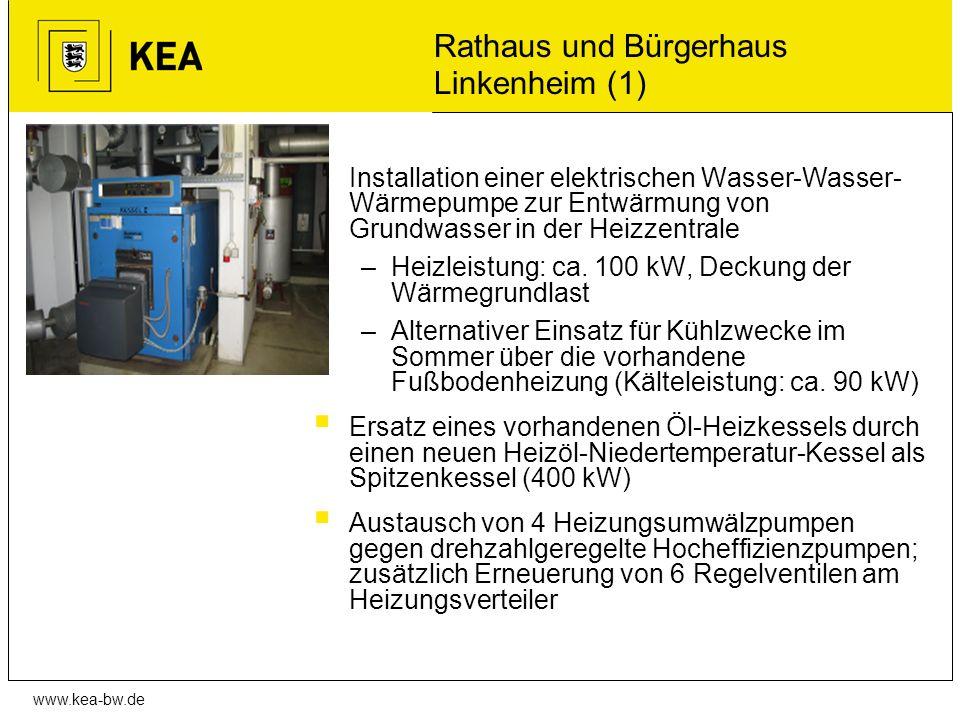 www.kea-bw.de Rathaus und Bürgerhaus Linkenheim (1) Installation einer elektrischen Wasser-Wasser- Wärmepumpe zur Entwärmung von Grundwasser in der He