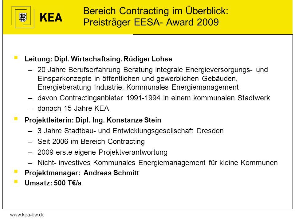 www.kea-bw.de Bereich Contracting im Überblick: Preisträger EESA- Award 2009 Leitung: Dipl. Wirtschaftsing. Rüdiger Lohse –20 Jahre Berufserfahrung Be