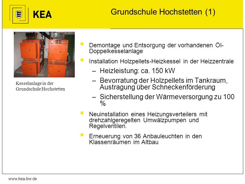 www.kea-bw.de Grundschule Hochstetten (1) Demontage und Entsorgung der vorhandenen Öl- Doppelkesselanlage Installation Holzpellets-Heizkessel in der H