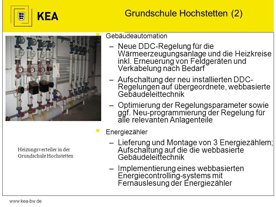 www.kea-bw.de Grundschule Hochstetten (2) Gebäudeautomation –Neue DDC-Regelung für die Wärmeerzeugungsanlage und die Heizkreise inkl. Erneuerung von F