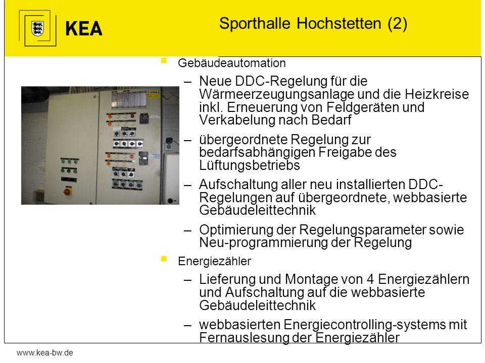 www.kea-bw.de Sporthalle Hochstetten (2) Gebäudeautomation –Neue DDC-Regelung für die Wärmeerzeugungsanlage und die Heizkreise inkl. Erneuerung von Fe