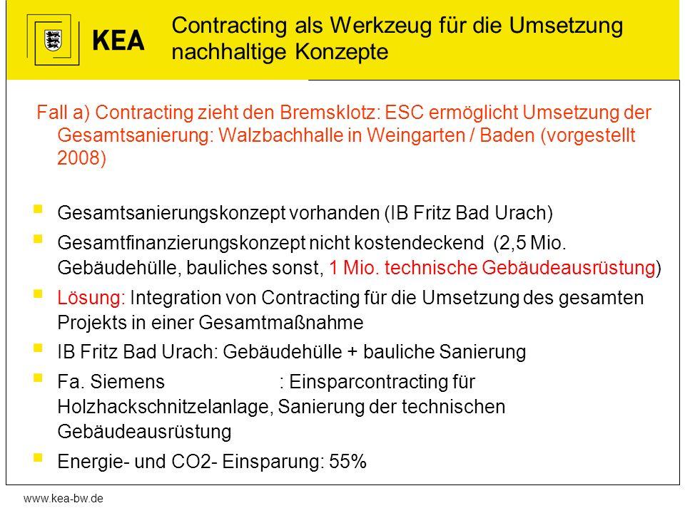 www.kea-bw.de Contracting als Werkzeug für die Umsetzung nachhaltige Konzepte Fall a) Contracting zieht den Bremsklotz: ESC ermöglicht Umsetzung der G