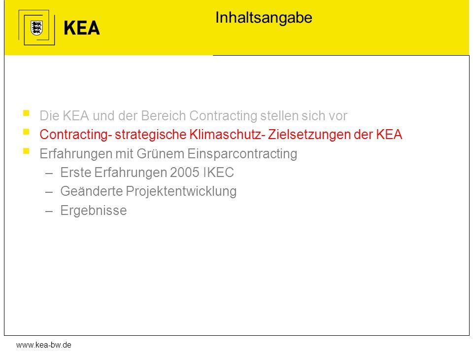 www.kea-bw.de Inhaltsangabe Die KEA und der Bereich Contracting stellen sich vor Contracting- strategische Klimaschutz- Zielsetzungen der KEA Erfahrun