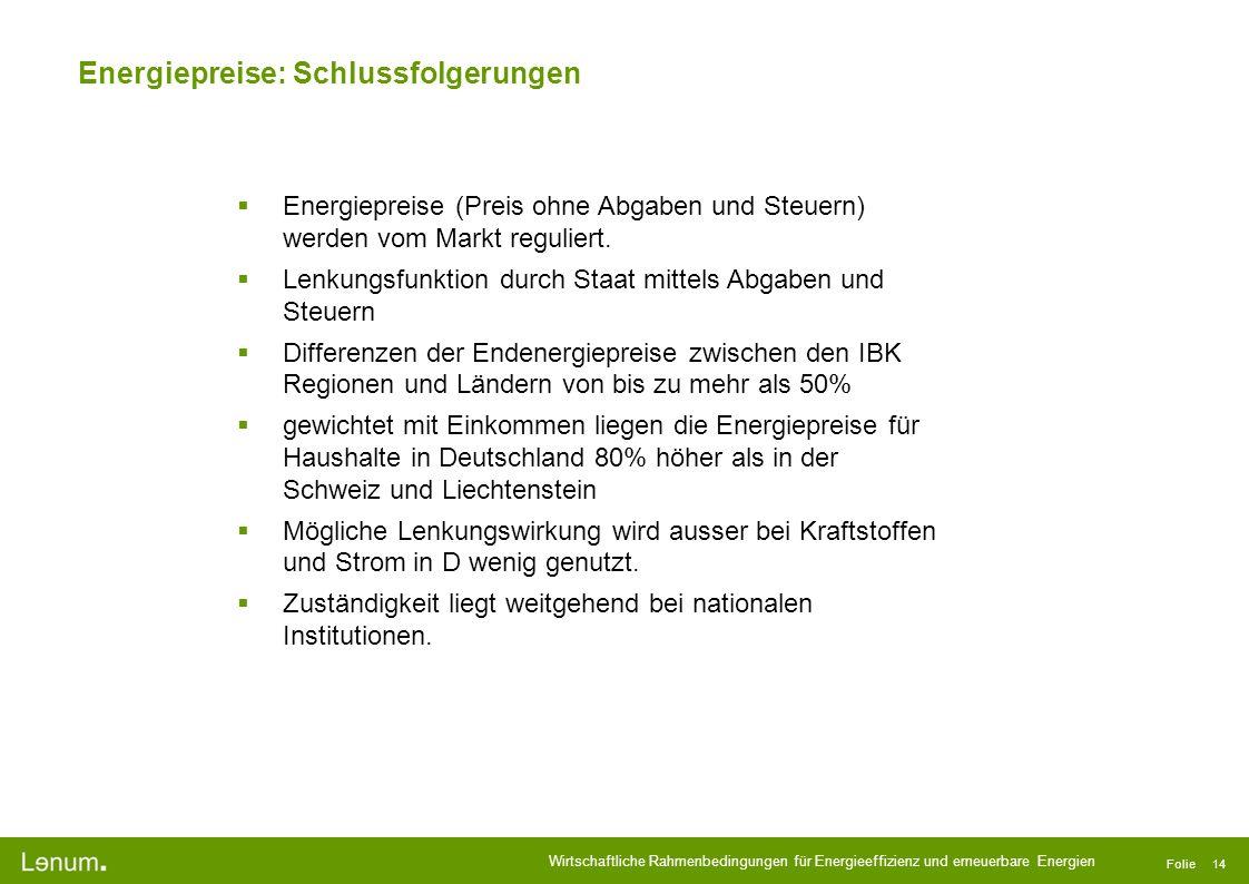 Wirtschaftliche Rahmenbedingungen für Energieeffizienz und erneuerbare Energien Folie 14 Energiepreise: Schlussfolgerungen Energiepreise (Preis ohne A